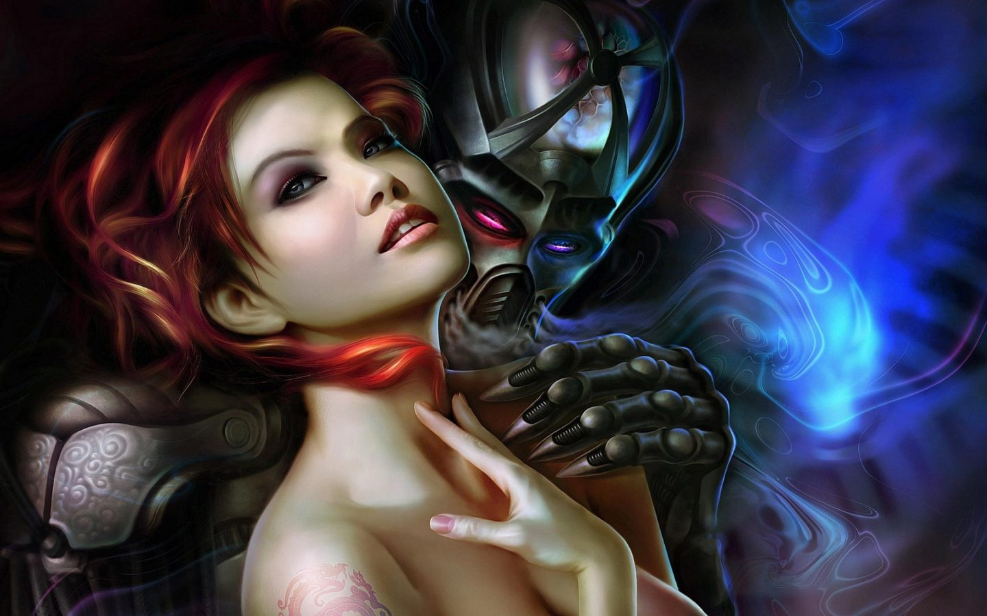 Beautiful-Girl-with-red-hair-and-robot-boy-Fantasy-art-Wallpaper-for-mobile-phones-Tablet-and-PC-3840x2160-1440x900