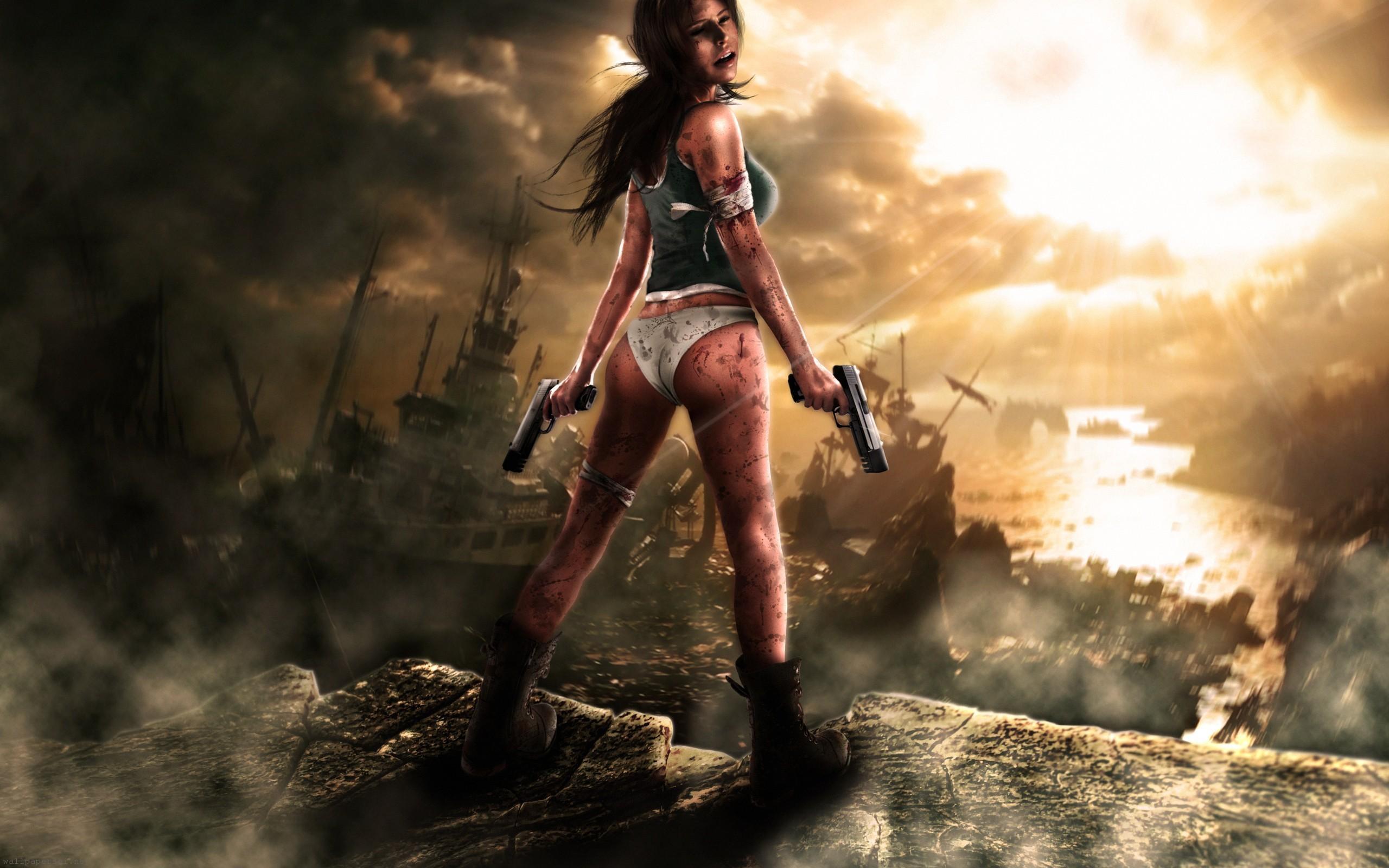 Copia di lara croft girl gun full hd