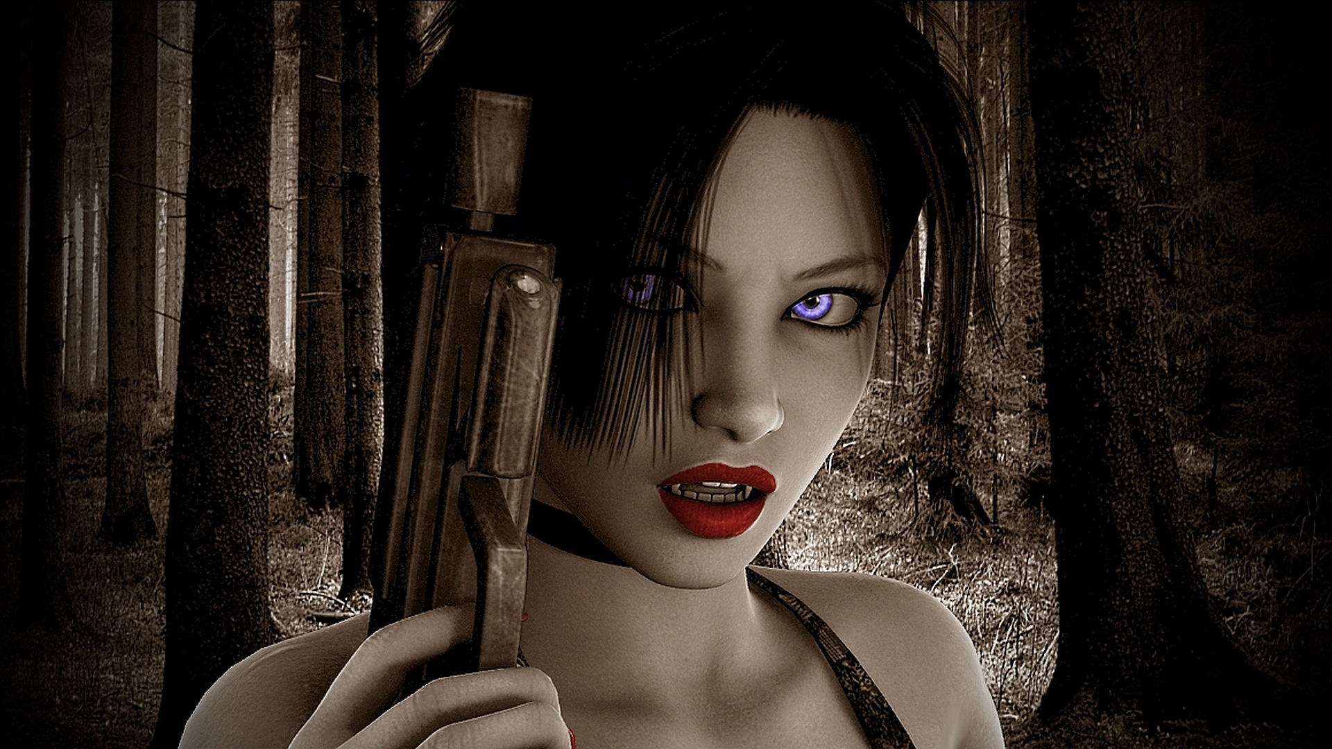 amazing girl with gun widescreen wallpaper